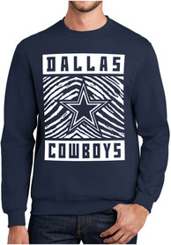 Dallas Cowboys Zubaz Zebra Monotone Crew Sweatshirt - Navy Blue