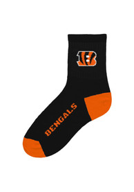 Cincinnati Bengals Logo Black Quarter Socks - Black