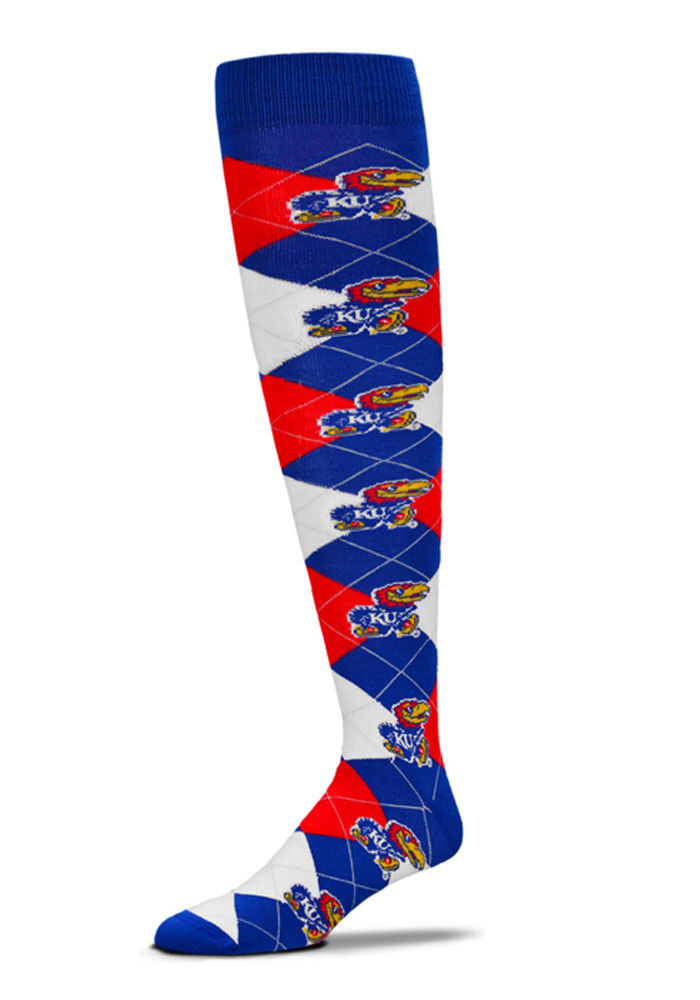 Kansas Jayhawks Blue Argyle Socks - Blue