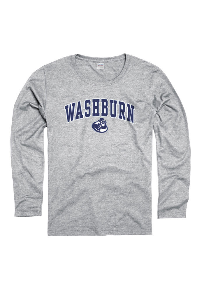 Washburn Ichabods Womens Grey Midsize Spirit Long Sleeve Women's Crew - Image 1