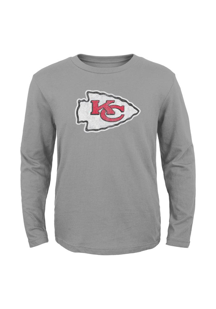 Kansas City Chiefs Youth Grey Distressed Logo Long Sleeve T-Shirt - Image 1