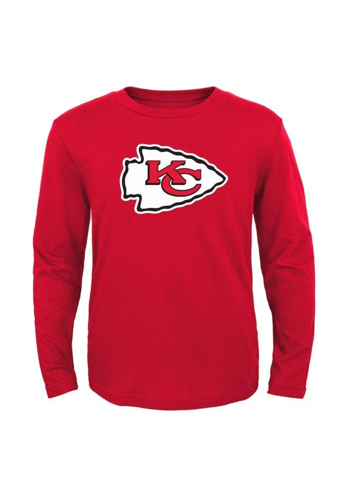 Kansas City Chiefs Youth Red Primary Logo Long Sleeve T-Shirt - Image 1