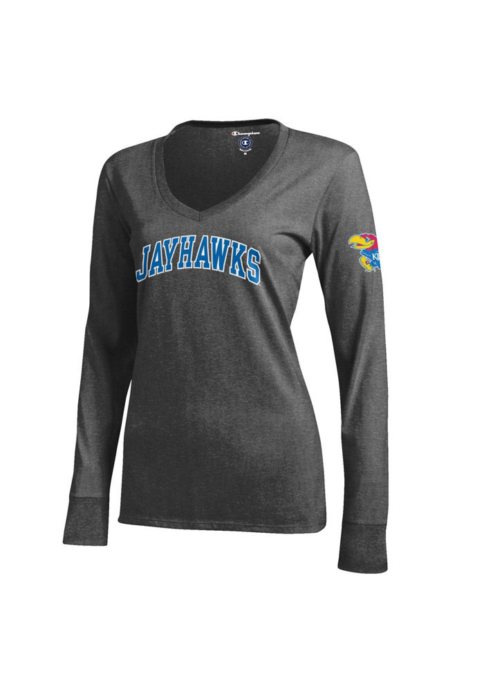 Kansas Jayhawks Juniors Grey Campus Long Sleeve T-Shirt - Image 1