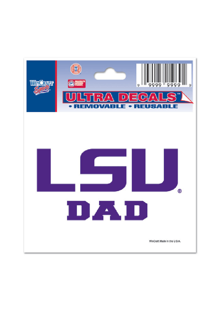 LSU Tigers 3x4 Dad Auto Decal - Purple - Image 1