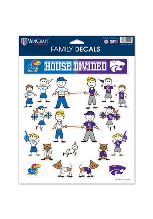 Kansas Jayhawks and K-State Wildcats 8.5x11 Family Pack Decal
