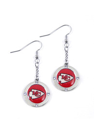 Kansas City Chiefs Womens Round Crystal Earrings - Red