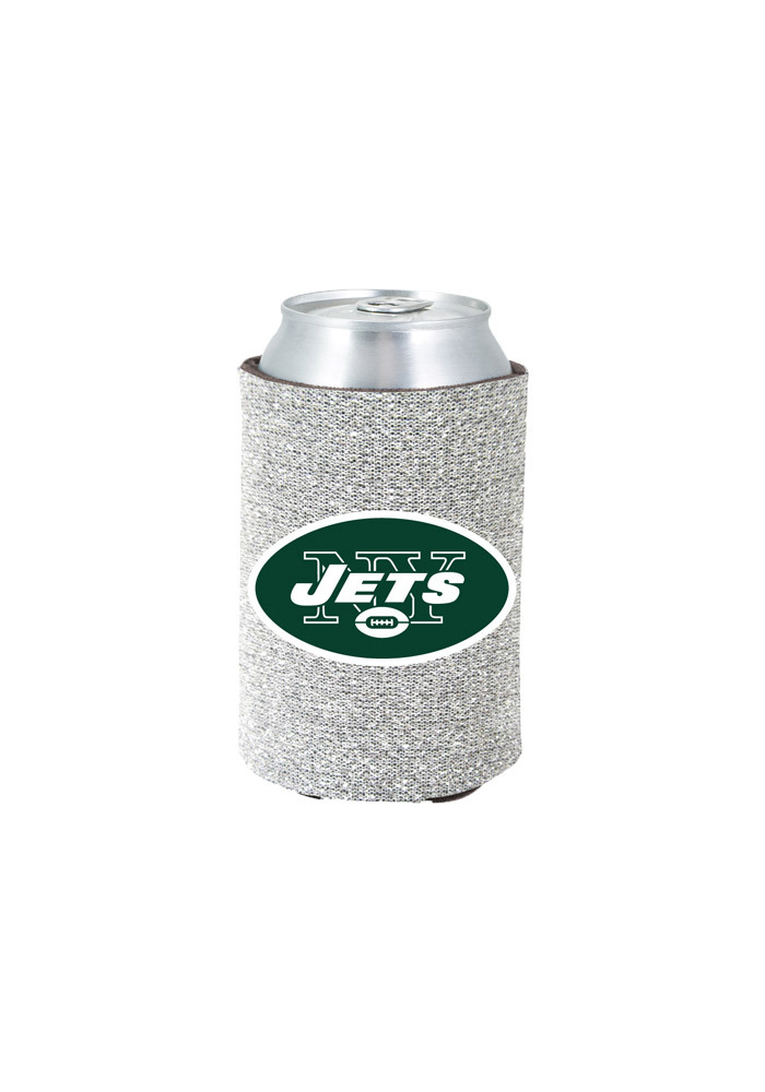 New York Jets Silver Glitter Can Koozie - Image 1