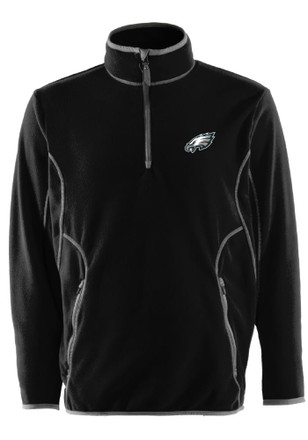 Antigua Philadelphia Eagles Mens Black Ice Quarter Zip Pullover 1/4 Zip Pullover