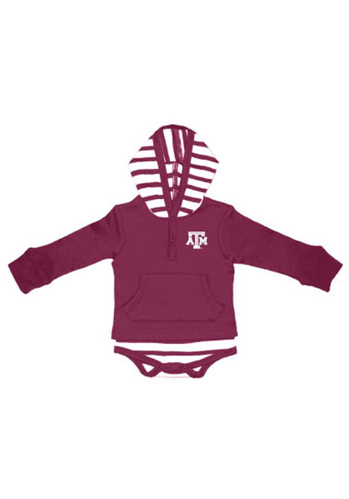 Texas A&M Aggies Baby Maroon Stripe Romper Long Sleeve One Piece - Image 1