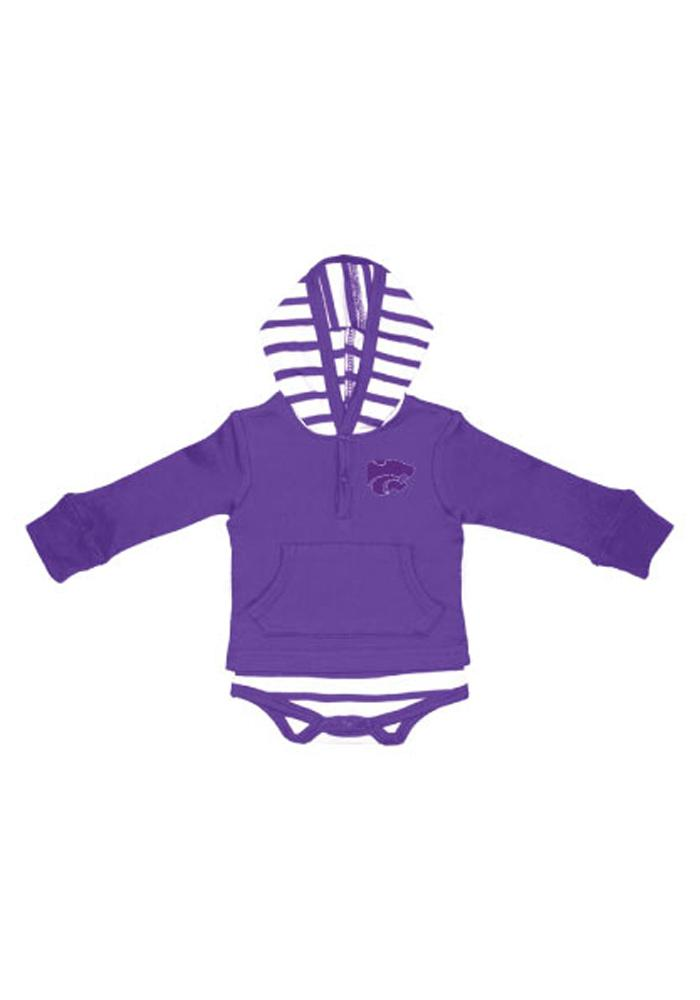 K-State Wildcats Baby Purple Stripe Romper Long Sleeve One Piece - Image 1