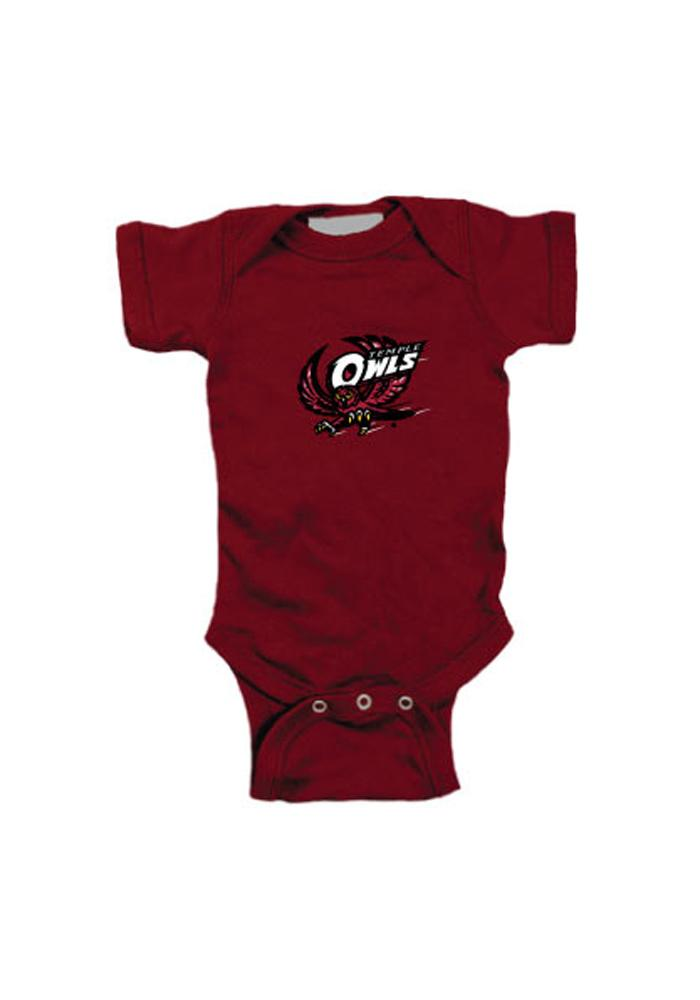 Temple Owls Baby Maroon Embroidered Logo One Piece