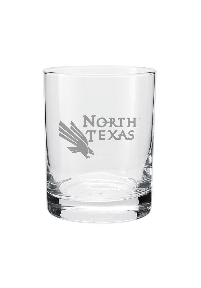 North Texas Mean Green Frosted Logo Rock Glass - Image 1