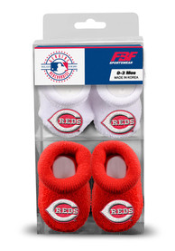 Cincinnati Reds Baby 2pk Knit Bootie Boxed Set - Red