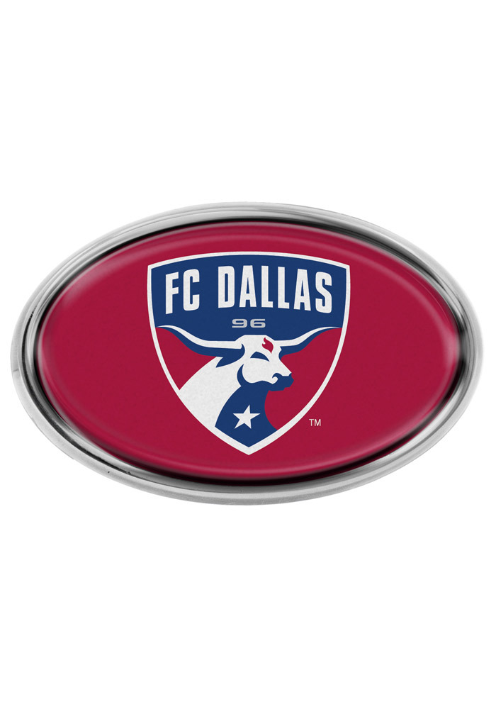 FC Dallas Red Domed Oval Car Emblem - Red - Image 1