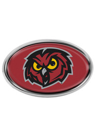 Temple Owls Domed Oval Shaped Car Emblem - Red