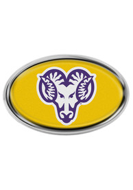 West Chester Golden Rams Domed Oval Shaped Car Emblem - Yellow