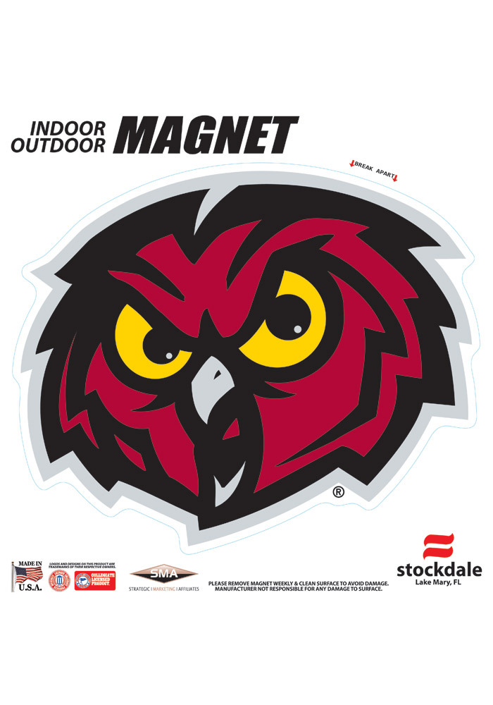 Temple Owls 12x12 Logo Car Magnet - Red - Image 1