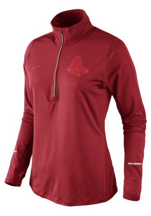 Nike Boston Womens Dri-Fit Element Red 1/4 Zip Performance Pullover