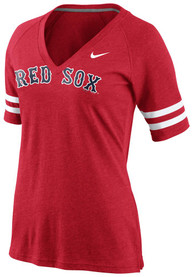 Nike Boston Red Sox Womens Red Fan Top V-Neck