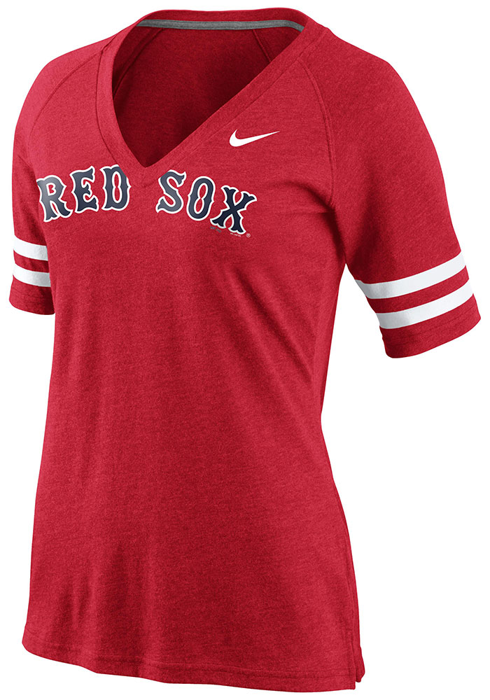 ... get online 3335d 610a8 Nike Boston Red Sox Womens Red Fan Top V-Neck T  ... 61ded8b31a