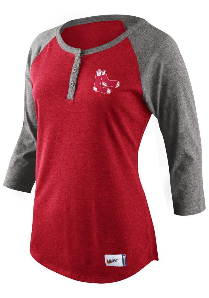 Nike Boston Red Sox Womens Red Tri-Blend Cooperstown Raglan Long Sleeve Crew T-Shirt - Image 1