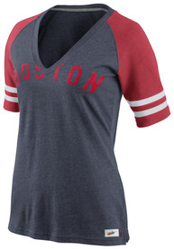 Nike Boston Red Sox Womens Navy Blue Cooperstown Fan Top V-Neck