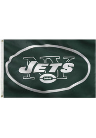 New York Jets 3x5 Grommet Green Silk Screen Grommet Flag