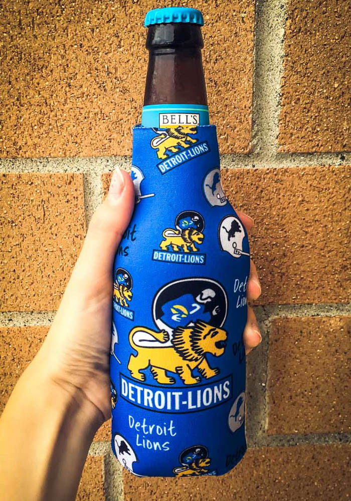 Detroit Lions 2-Sided Flashback Bottle Koozie - Image 2