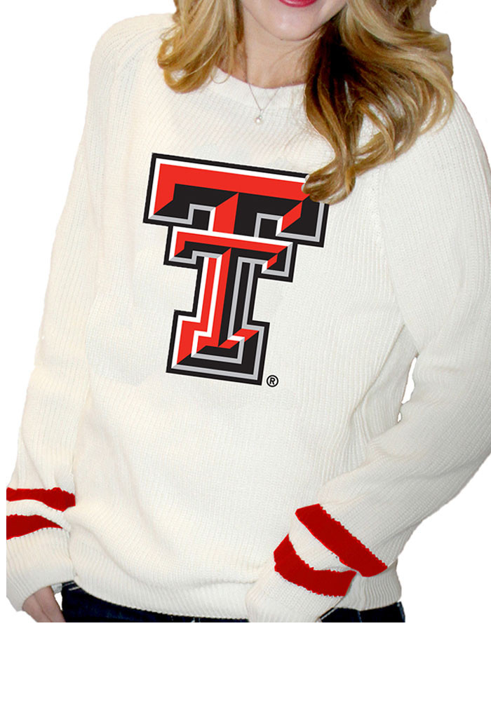 Texas Tech Red Raiders Juniors Ivory Varsity Sweater Long Sleeve Sweater - Image 1