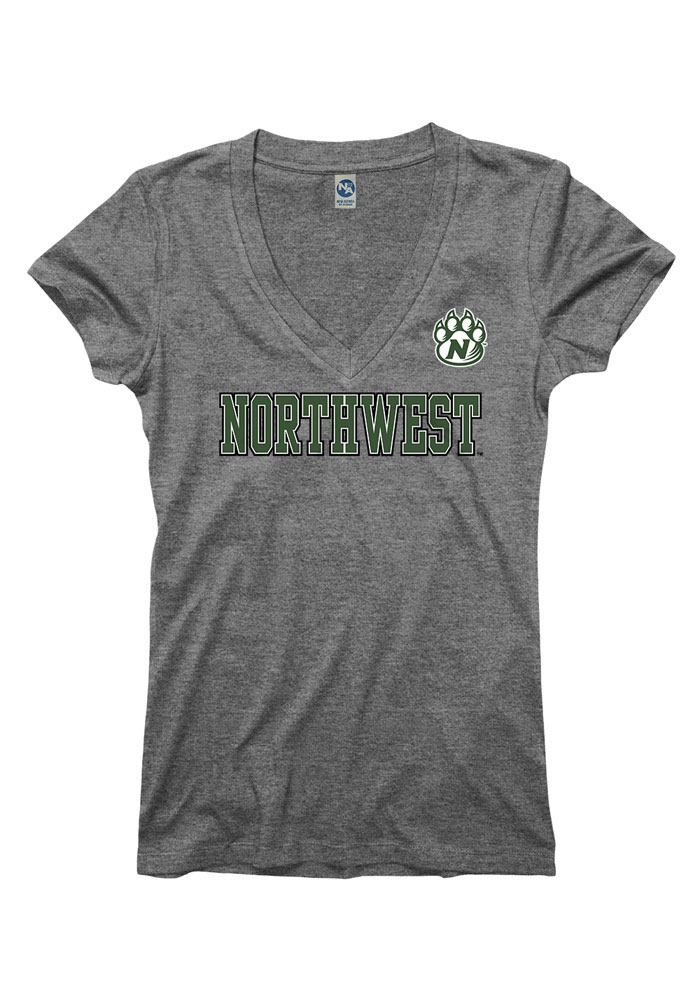 Northwest Missouri State Bearcats Juniors Grey Straightaway V-Neck T-Shirt - Image 1
