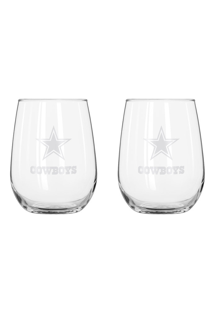 Dallas Cowboys frosted logo Stemless Wine Glass - Image 1