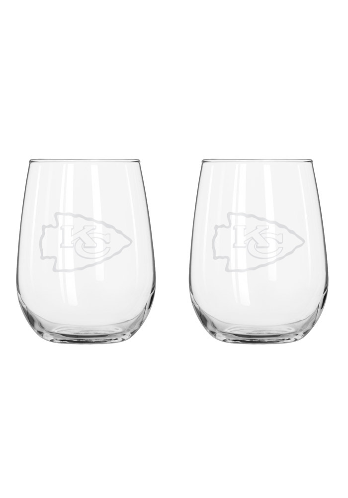 Kansas City Chiefs frosted logo Stemless Wine Glass - Image 1