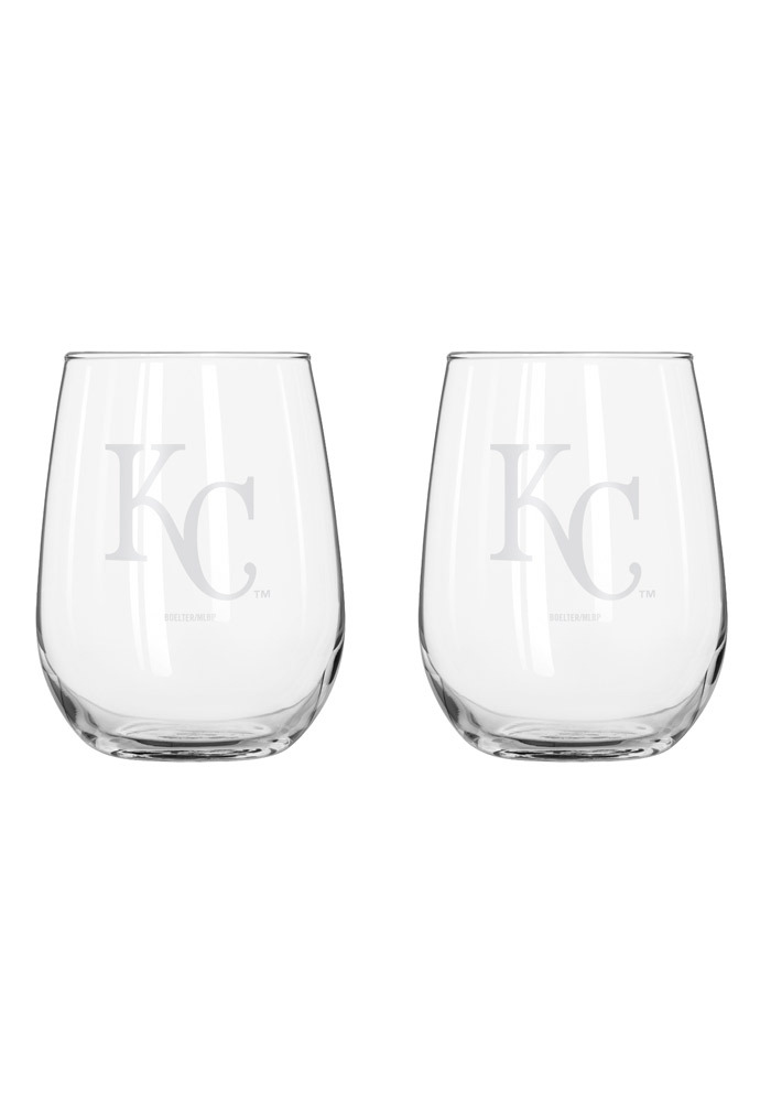 Kansas City Royals frosted logo Stemless Wine Glass - Image 1