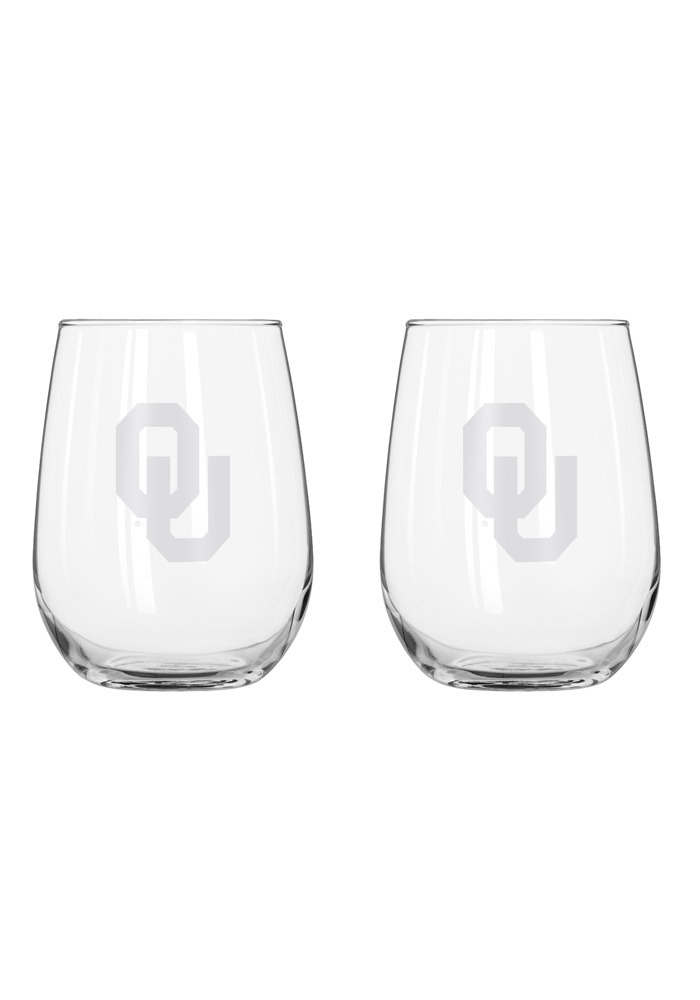 Oklahoma Sooners frosted logo Stemless Wine Glass - Image 1