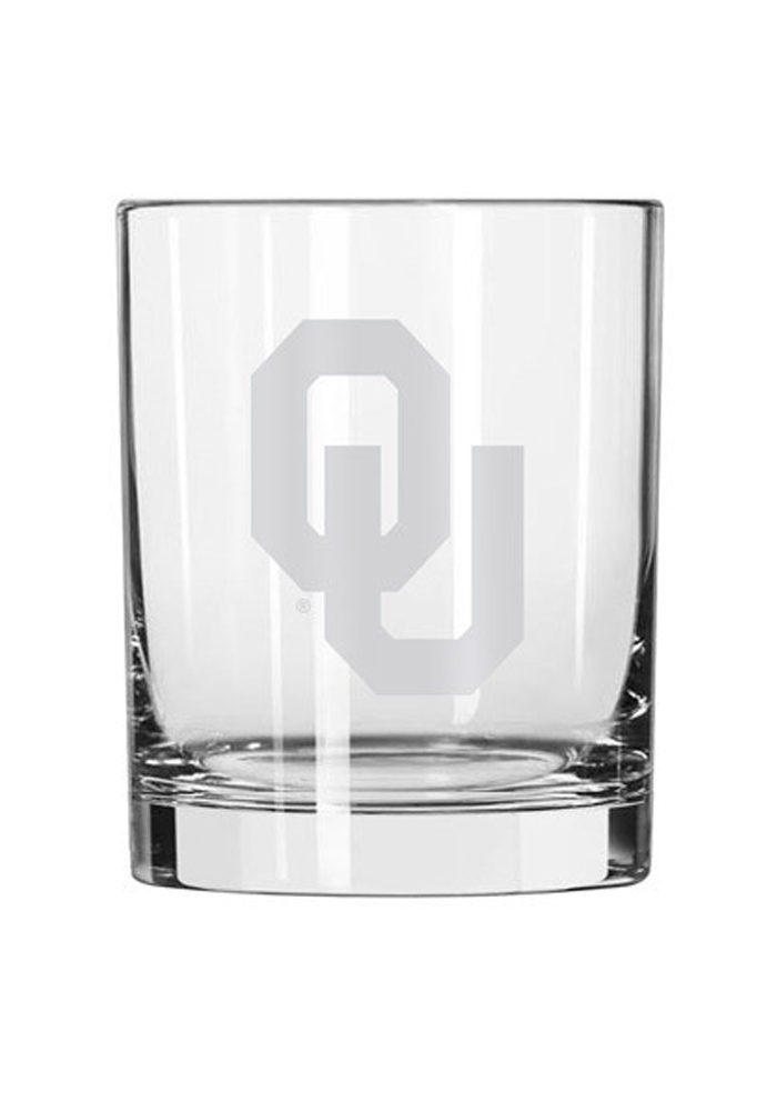 Oklahoma Sooners Frosted Logo Rock Glass - Image 1