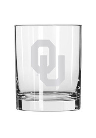 Oklahoma Sooners Frosted Logo Rock Glass
