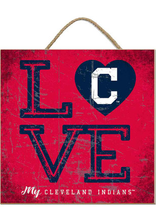 Cleveland Indians 10x10 Textured Love Sign
