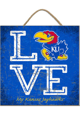 Kansas Jayhawks 10x10 Textured Love Sign