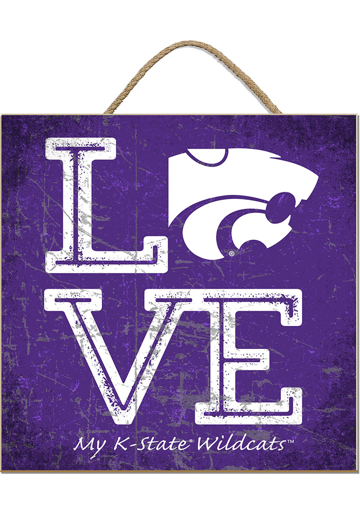 K-State Wildcats 10x10 Textured Love Sign - Image 1