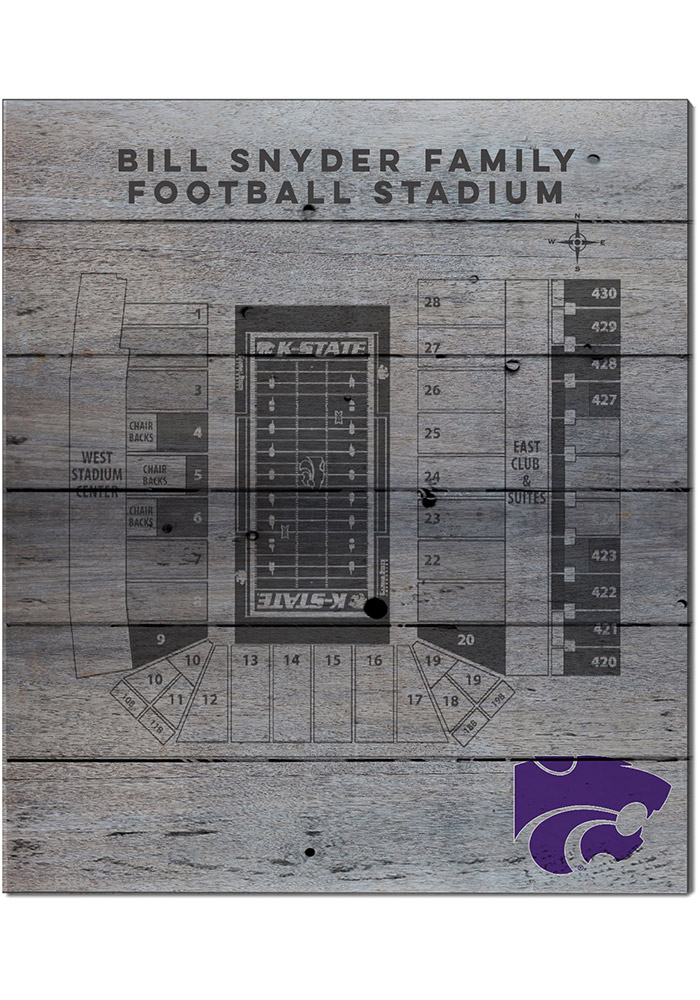 K-State Wildcats 16x20 Seating Chart Sign - Image 1