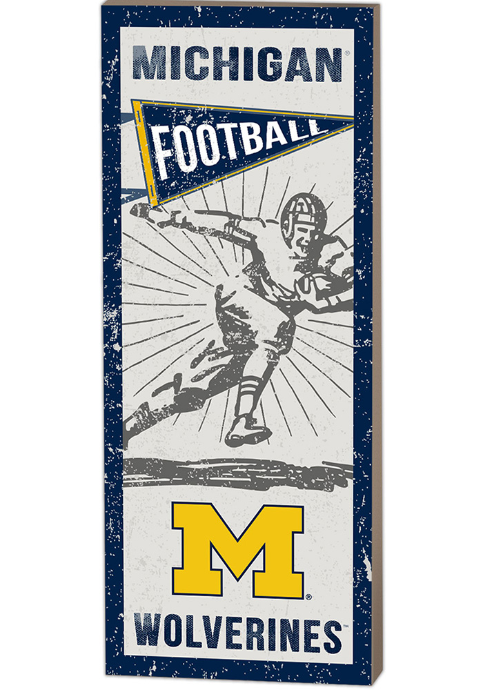 Michigan Wolverines 18x7 Vintage Football Player Wall Art - Image 1