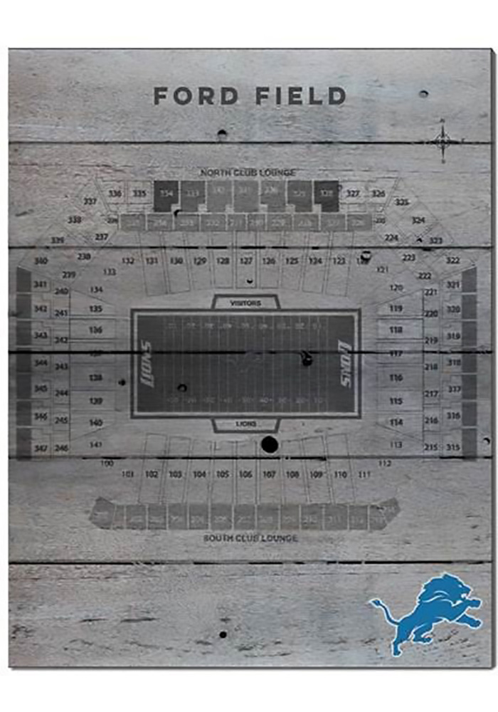 Detroit Lions 16x20 Pallet Pride Seating Chart Sign