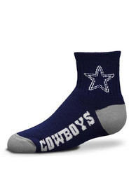 Dallas Cowboys Youth Navy Blue Logo Name Navy Quarter Socks
