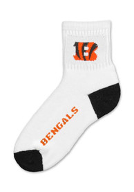 Cincinnati Bengals Logo Name Quarter Socks - White