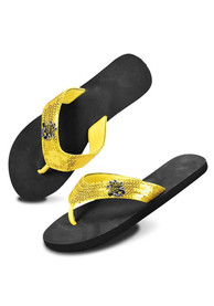 Wichita State Shockers Womens Gold/Black Sequence Flip Flops - Black