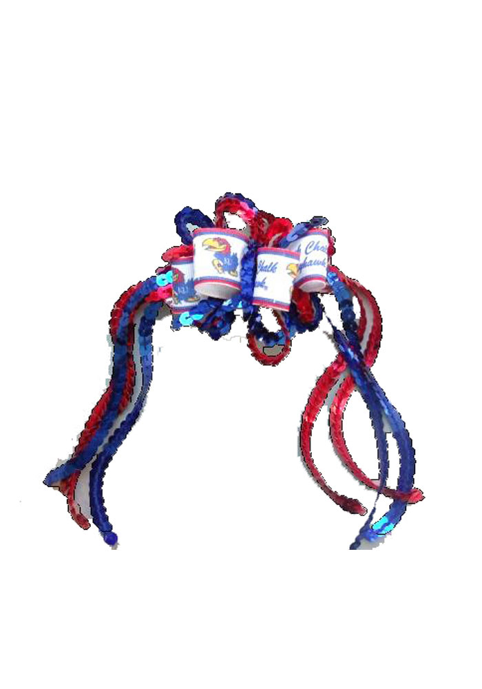 Kansas Jayhawks Sequin Loop Baby Hair Ribbons - Image 1