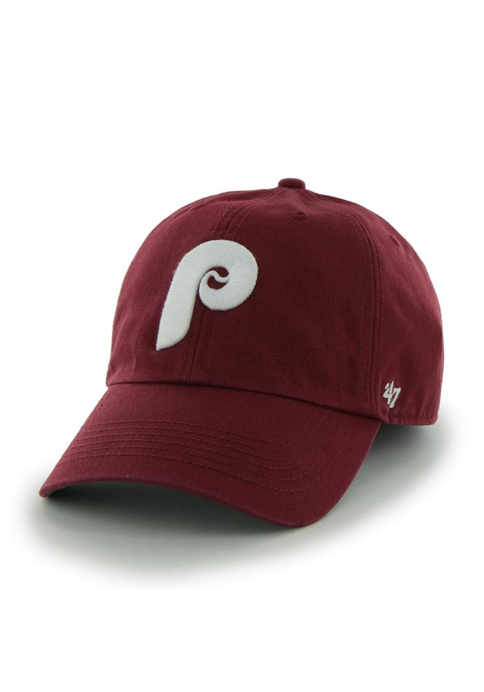'47 Philadelphia Phillies Mens Maroon Retro 47 Franchise Fitted Hat - Image 1
