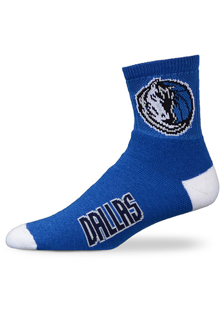Dallas Mavericks Logo Name Blue Youth Quarter Socks - Image 1