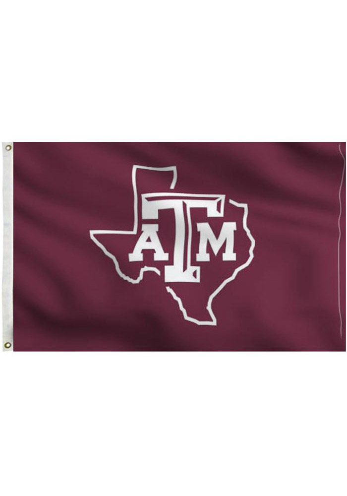 Texas A&M Aggies 3x5 Maroon State Grommet Applique Flag - Image 1