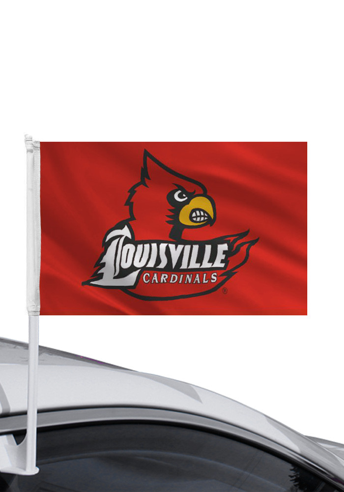 Louisville Cardinals 11x16 Red Car Flag - Image 1